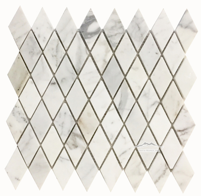 "Calacatta Gold Marble Harlequin 1-3/8"" x 2-3/4"" x 3/8"" Mosaic Polished"