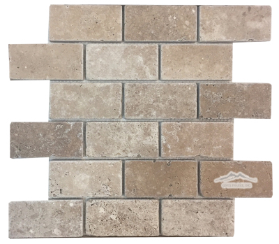 "Noce Travertine 2"" x 4"" Mosaic Tumbled"