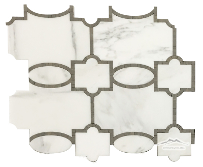 "WJ2: Tabriz White Statuary Calacatta Polished & Blue Lagoon (Lagos Azul) Honed 12.25"" x 14.13"" 1.20 sf/sheet"