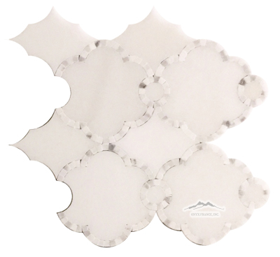 "WJ3: Pardis Water-Jet: White Silk & White Statuary Calacatta Marble (12.5"" x 12"")"