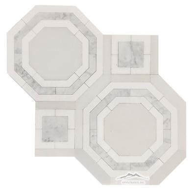 """WJ4 Monte Carlo Water-Jet: White Silk, White Thassos, & White Carrara Venatino Marble, Polished  (16"""" x 16"""")"""