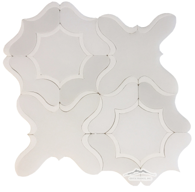 "WJ5 Gardenia Water-Jet: White Silk and White Thassos Marble Polished (12"" x 12"")"