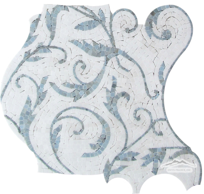 Large Pattern Floral Mosaic 2. White Silk Marble (Background) w/ Blue Saveh Polished Mosaic
