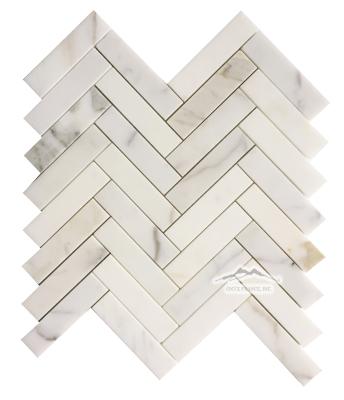 """Calacatta Gold Marble Herringbone 1"""" x 4"""" Mosaic Polished"""