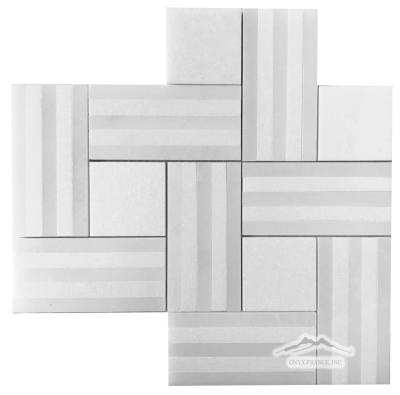 Remy Stripe 1: White Thassos & White Silk Marble Mosaic Polished