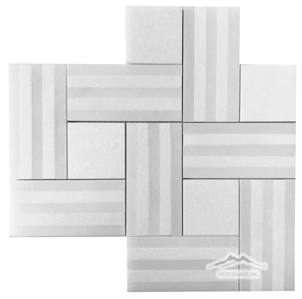 Remy Stripe 1: White Thassos & White Silk Marble Mosaic Polished (.80 SF/SHT)