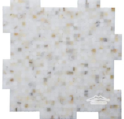 "Calacatta Gold Marble 3/8"" x 3/8"" Interlocking Mosaic Polished"