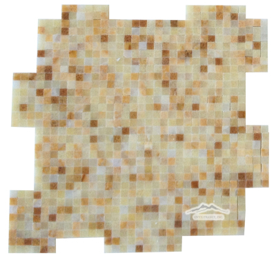 "Golden Classic Onyx 3/8"" x 3/8"" INTERLOCKING Mosaic Polished"