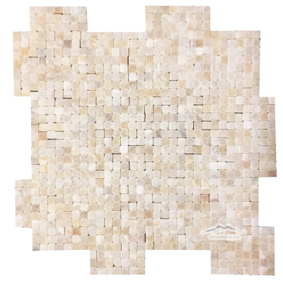 "Golden Honey Onyx 3/8"" x 3/8"" INTERLOCKING Mosaic Tumbled"