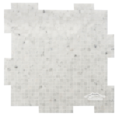 "White Carrara Venatino PREMIUM Marble 3/8"" x 3/8"" INTERLOCKING mosaic Polished"