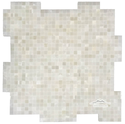 "White Persian Cloud PREMIUM 3/8"" x 3/8"" INTERLOCKING Mosaic Polished"