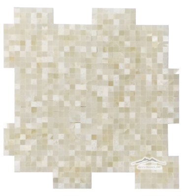 "White Persian Vanilla PREMIUM Onyx 3/8"" x 3/8"" INTERLOCKING Mosaic Polished"