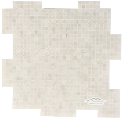 "White Silk Marble 3/8"" x 3/8"" INTERLOCKING Mosaic Polished"