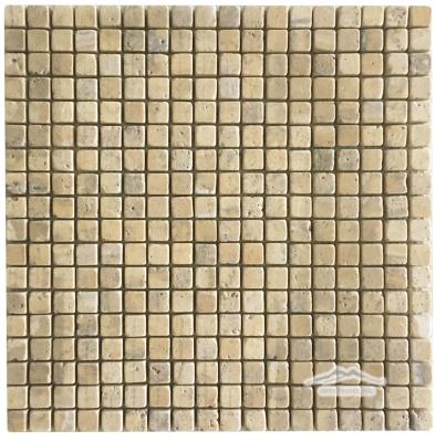 "Persian Gold Travertine 5/8"" x 5/8"" Mosaic Tumbled"