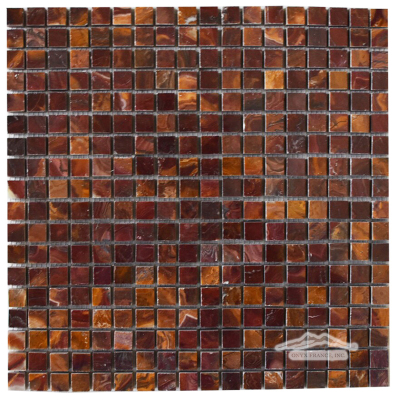 "Red & Gold Multicolor Onyx 5/8"" x 5/8"" Mosaic Polished"