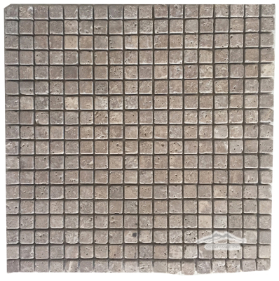 "Noce Travertine 5/8"" x 5/8"" Mosaic Tumbled"