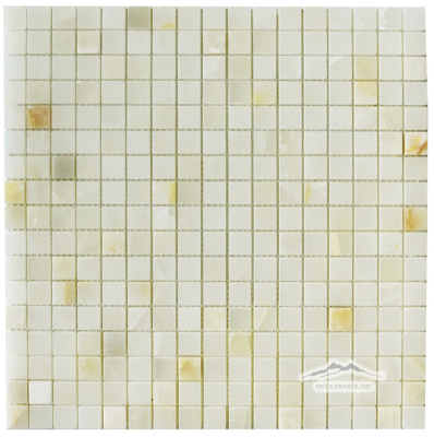 "White Persian Vanilla PREMIUM Onyx 5/8"" x 5/8"" Mosaic Polished"
