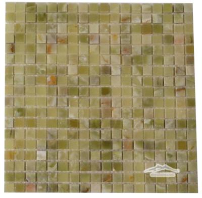 "Green Pistachio Olive PREMIUM Onyx 5/8"" x 5/8"" Mosaics Polished"