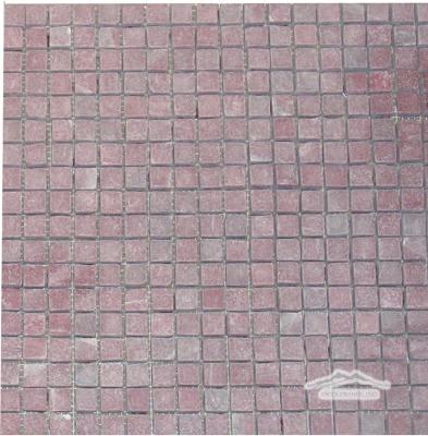 "Rosso Laguna (Red Lake) Marble 5/8"" x 5/8"" Mosaic Tumbled"