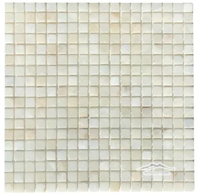 "White Persian Cloud PREMIUM Onyx 5/8"" x 5/8"" Mosaic Tumbled"