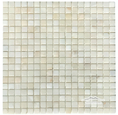 "White Persian Cloud PREMIUM Onyx 5/8"" x 5/8"" Mosaic Tumbled"
