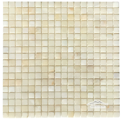 "White Persian Vanilla PREMIUM Onyx 5/8"" x 5/8"" Mosaic Tumbled"