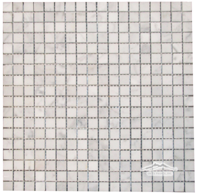 "White Carrara Venatino 5/8"" x 5/8"" Mosaic Polished, Honed, & Tumbled"
