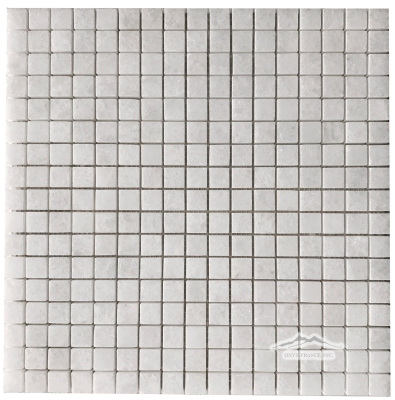 "White Crystalline Marble 5/8"" x 5/8"" Mosaic Polished"