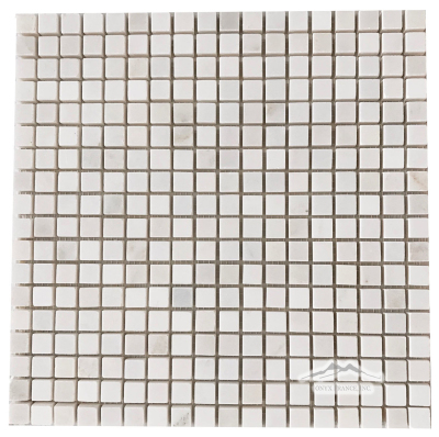 "White Silk or Snow 5/8"" x 5/8"" Mosaic Polished"