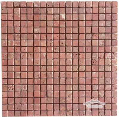 "Persian Red Travertine 5/8"" x 5/8"" Mosaic Tumbled"