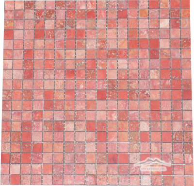 "Persian Red Travertine 5/8"" x 5/8"" Mosaic Polished"