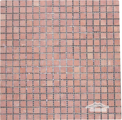 "Rosa Verona Marble 5/8"" x 5/8"" Mosaic Tumbled"