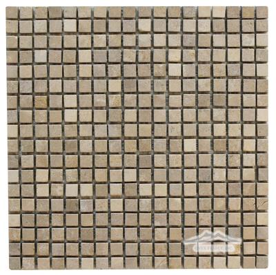 "Gold Lagoon (Lagos Gold) Limestone 5/8"" x 5/8"" Mosaic Tumbled"