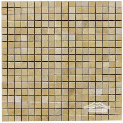 "Jerusalem Gold Limestone 5/8"" x 5/8"" Mosaic Polished"