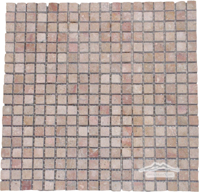 "Sunstone (Orro Rosso) Limestone 5/8"" x 5/8"" Mosaic Tumbled"