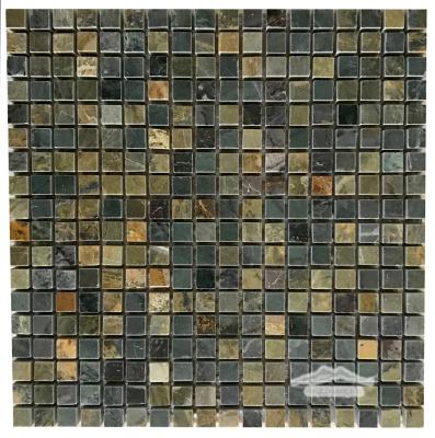 """Green Fantasia/ Green Royal Blue Marble 5/8"""" x 5/8"""" Mosaic Polished"""
