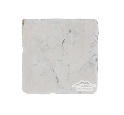 "Bianco Perlino Marble 4"" x 4"" Tile Tumbled"