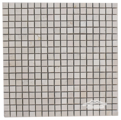 "Bianco Perlino Marble 5/8"" x 5/8"" Mosaic Tumbled"