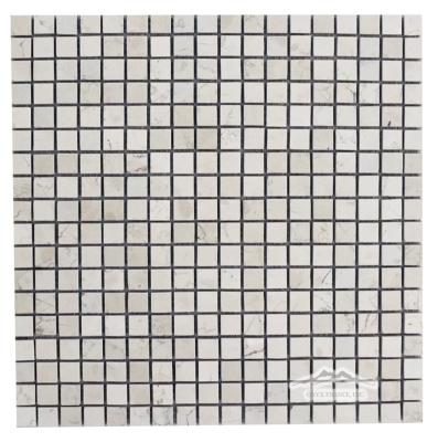 "Bianco Perlino Marble 5/8"" x 5/8"" Mosaic Tumbled"