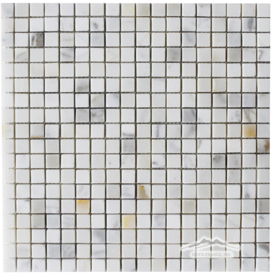 "Calacatta Gold Marble 5/8"" x 5/8"" Mosaic Polished"