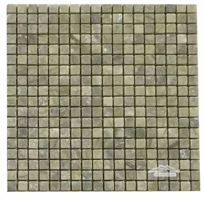 """<p style=""""font-size: 18px;"""">Green Olivine Marble 5/8"""" x 5/8"""" Mosaic Tumbled"""