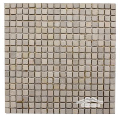 """Beige Sand Limestone 5/8"""" x 5/8"""" Mosaic Tumbled"""
