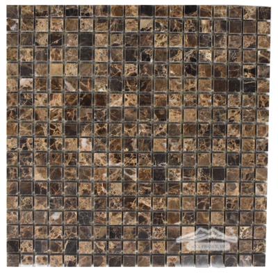 """Brown Emperador Marble 5/8"""" x 5/8"""" Mosaic"""