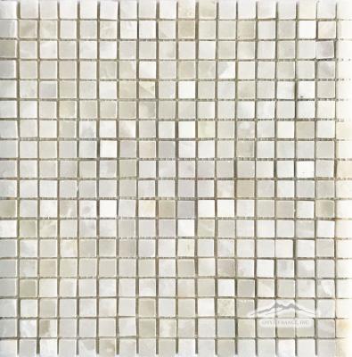 "White Persian Cloud PREMIUM Onyx 5/8"" x 5/8"" Mosaic Polished"
