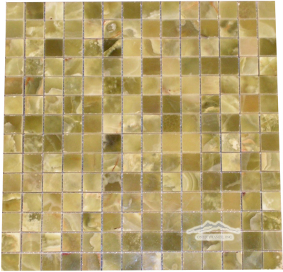 "Green Pistachio Olive PREMIUM Onyx 3/4"" x 3/4"" Mosaics Polished"