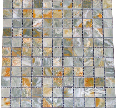 "Blue Aqua Gold Onyx 1"" x 1"" Mosaic Polished"
