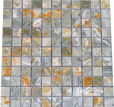 """Blue Aqua Gold Onyx 1"""" x 1"""" Mosaic Polished"""