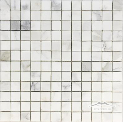 "Calacatta Gold Marble 1"" x 1"" Mosaic Polished & Honed"