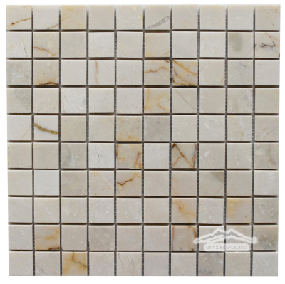 "Cream Elegant Marble 1-1/4"" x 1-1/4"" Mosaic Polished"
