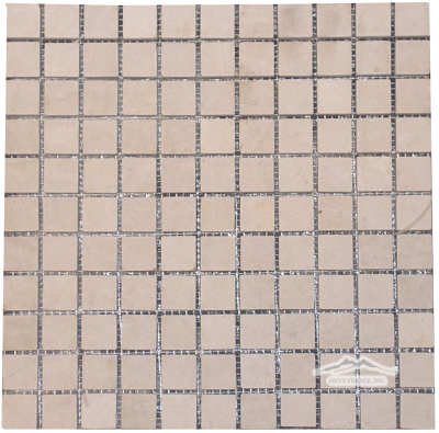 "Cream Marfil 1"" x 1"" Mosaic Tumbled"